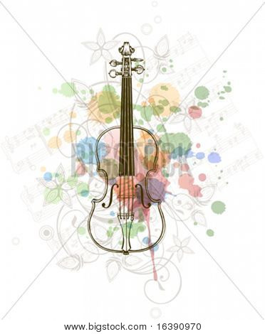 Violin, music sheets on the color paint background of stylized ornament &  orchid flowers