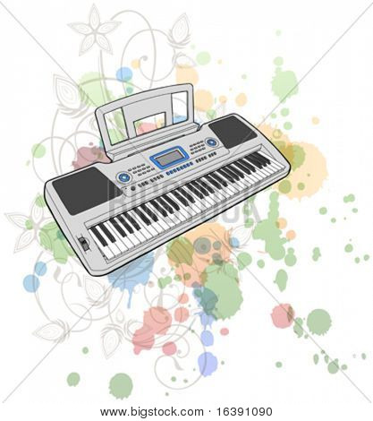 Electronic musical midi keyboard - synth & floral calligraphy ornament - a stylized orchid, color paint background
