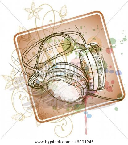 sketch of headphones on the color paint background with floral patterns (calligraphy ornament with stylized orchid)
