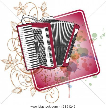 Accordion & floral calligraphy ornament - a stylized orchid, color paint background