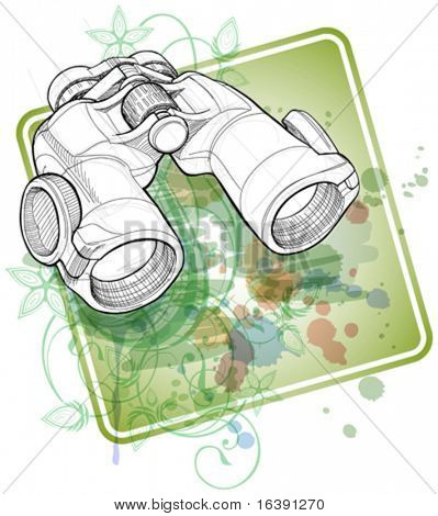 Binoculars sketch & floral calligraphy ornament - a stylized orchid, color paint background