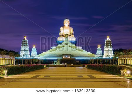 Buddha statue at night in Fo Guang Shan Taiwan