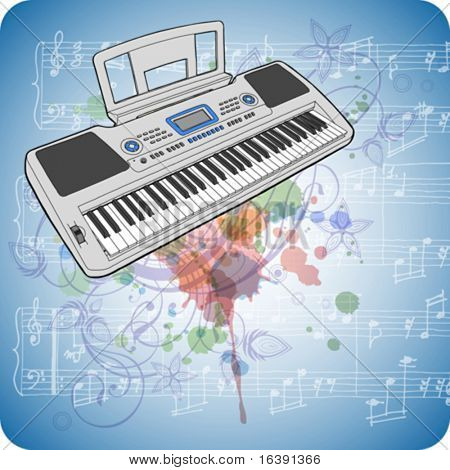 Electronic musical midi keyboard - synth , music sheets & floral calligraphy ornament - a stylized orchid, color paint background