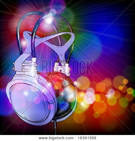 Headphones on color background. Vector illustration - eps10