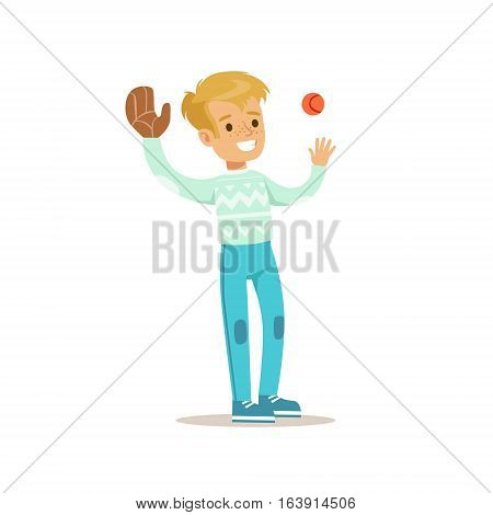 Boy Playing Baseball, Traditional Male Kid Role Expected Classic Behavior Illustration. Part Of Series With Smiling Teenage Boys And Their Interests Vector Characters.