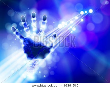 Handprint, blue technology background & & fiber optics color lights