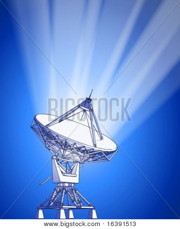 satellite dishes antenna - doppler radar, rays of light & blue technology background