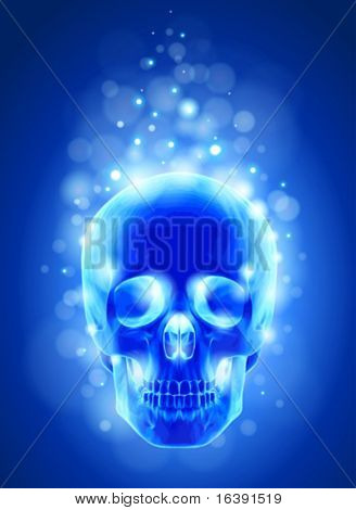 Skull x-ray, blue background & lights - technology vector