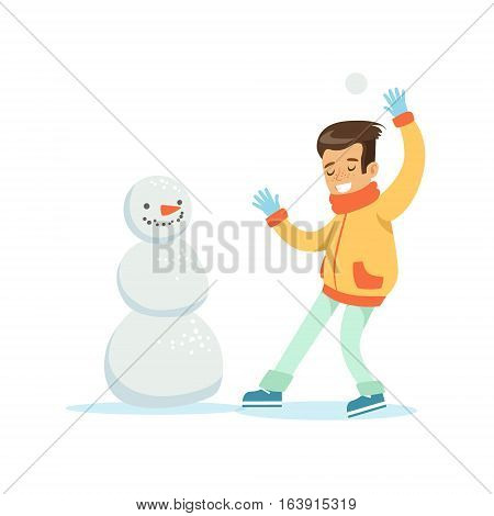 Boy Playing Snowballs Nest To Snowman, Traditional Male Kid Role Expected Classic Behavior Illustration. Part Of Series With Smiling Teenage Boys And Their Interests Vector Characters.