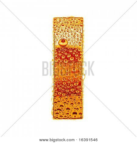 Orange gold alphabet symbol - letter I. Water splashes and drops on glossy metal. Isolated on white