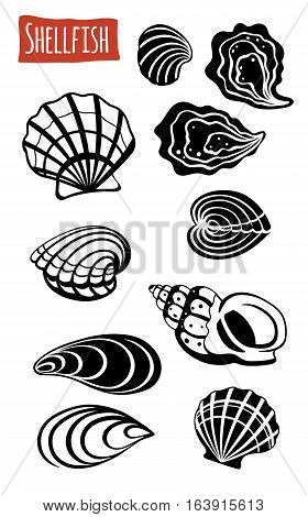 Shellfish, black and white vector illustration, cartoon style