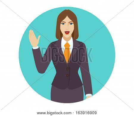 Businesswoman greeting someone with his hand raised up. Vector illustration.