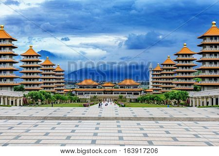 Beautiful view of Fo Guang Shan in the evening