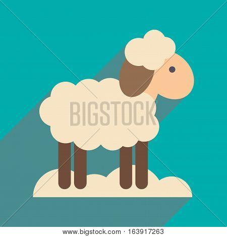 flat icon with long shadow Christmas lamb