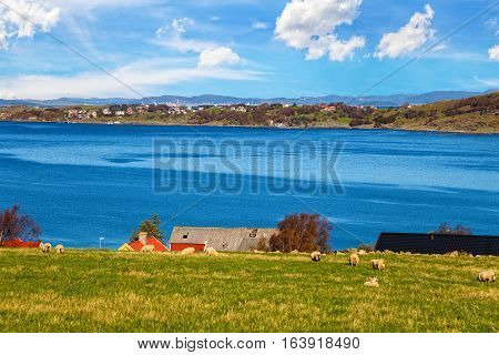 Image of beautiful Norway landscape in Mostery Norway.