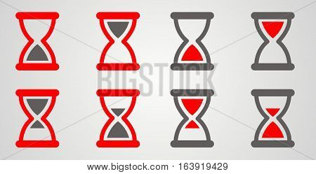 set of hourglass. flat vector illustration. red