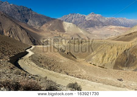 mountain road from Kagbeni to Muktinath, lower Mustang Nepal