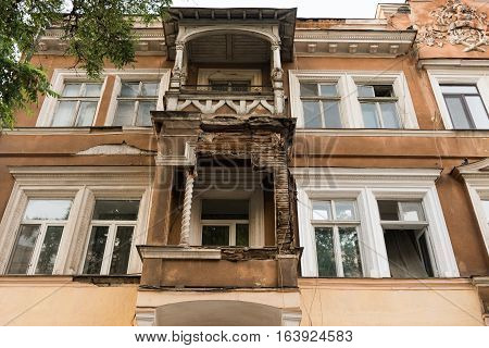 Facade Of An Old Building In The Slums