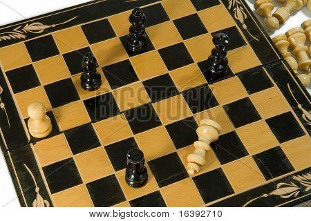 wooden glyphic chess figures