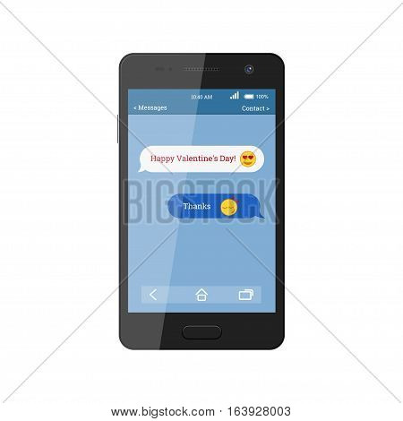 Congratulations to the Happy Valentine's Day. SMS message with icons of emotions. Black smartphone isolated on white background. Vector illustration