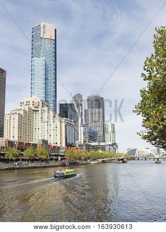 Melbourne - February 23 2016: Eureka skydeck 88 view from Flinders Walk and Yarra river February 23 2016 in Melbourne Australia