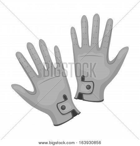 Jockey's gloves icon in monochrome design isolated on white background. Hippodrome and horse symbol stock vector illustration.