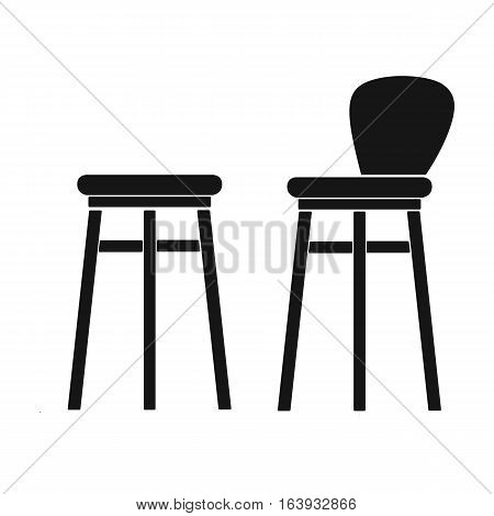 Bar stool icon in black design isolated on white background. Pub symbol stock vector illustration.