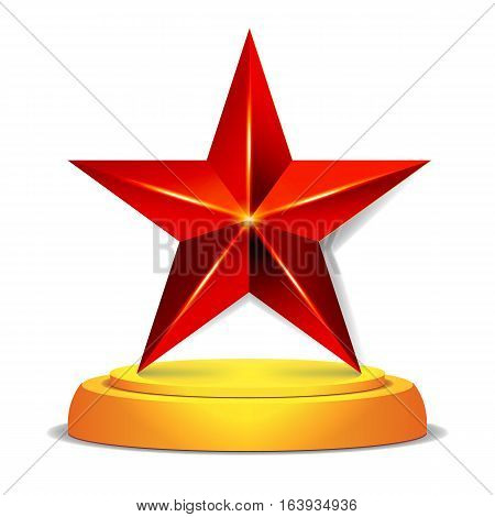 Modern Star Award. Shiny Vector Illustration. Modern Trophy, Challenge Prize. Beautiful Label Design. Isolated Vector Illustration