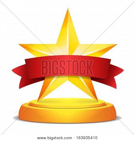 Gold Star Award. Red Ribbon With Place For Text. Vector Illustration. Modern Trophy, Challenge Prize. Beautiful Shiny Label Design. Isolated Vector Illustration