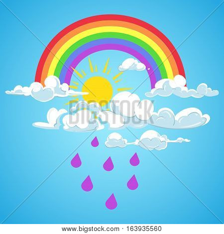 Vector rainbow and clouds with falling rain blue sky. Weather rain and sun illustration