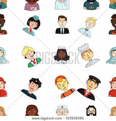 People of different profession pattern icons in cartoon style. Big collection of people of different profession vector symbol stock