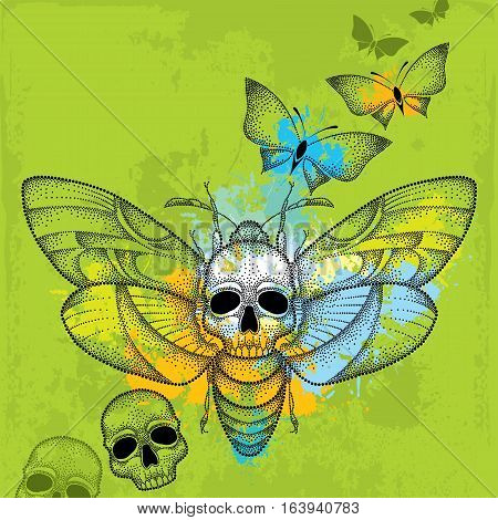 Vector drawing of dotted Death's head hawk moth or Acherontia atropos in black with skulls and butterflies on the textured green background.
