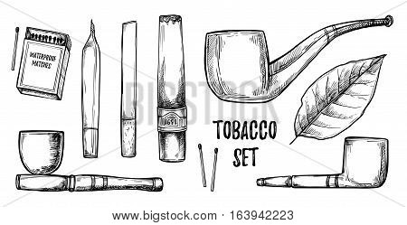Hand Drawn Vintage Vector Illustration - Tobacco Collection. Design Elements In Sketch Style ( Joint