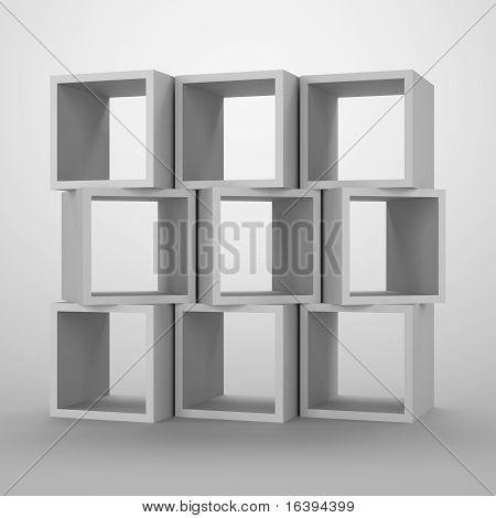 Arrangement of cubes.