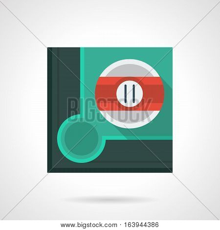 White ball with red stripe and number 11 near a corner hole on table. Pool billiards accessory. Sport and activity leisure, online games. Stylish square flat color design vector icon.