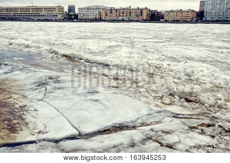 huge ice floes closeup on the river