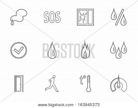 Alarm, fire detectors, humidity, motion, temperature, icons, gray, contour. Vector grey image on a white background. The contour image for the sensors.