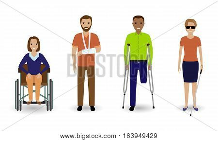 Disability people. Group of invalid men and women isolated on a white background. Flat style vector illustration.