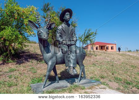 MIRZAANI, GEORGIA - OCT 7, 2016: Monument to famous Georgian painter Niko Pirosmani in village where he lived last years his life on October 7, 2016. Georgian primitivist lived in 1862-1918