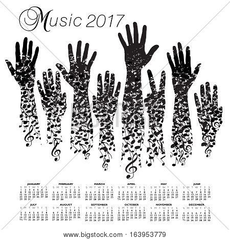 A creative 2017 musical calendar made with hands and notes