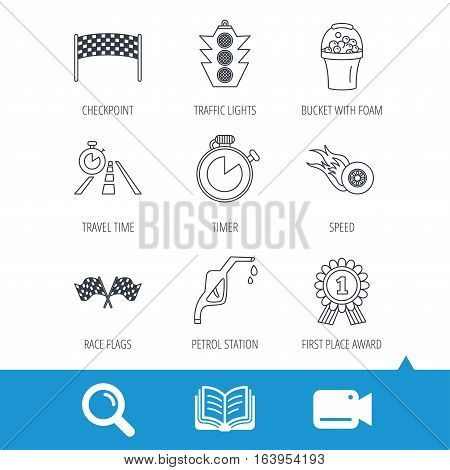 Race flags and speed icons. Winner medal, checkpoint and traffic lights linear signs. Timer and petrol station flat line icons. Video cam, book and magnifier search icons. Vector