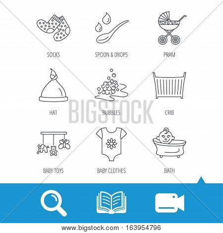 Baby clothes, bath and hat icons. Pram carriage, spoon with drops linear signs. Socks, baby toys and bubbles flat line icons. Video cam, book and magnifier search icons. Vector