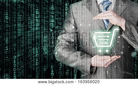 Consumer protection concept. Safety and insurance of trade and goods. Online marketing. Matrix background. Safe internet shopping. Attack and virus free. Safe credit card.