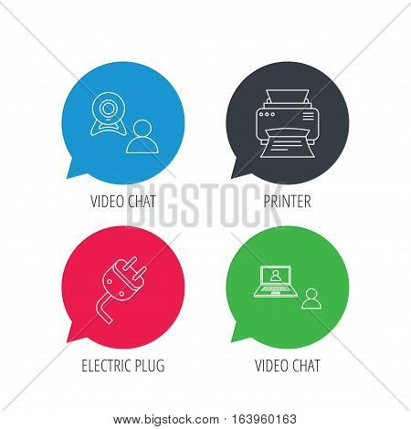 Colored speech bubbles. Video chat, printer and electric plug icons. Video conference linear sign. Flat web buttons with linear icons. Vector