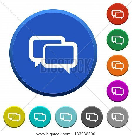 Chat bubbles round color beveled buttons with smooth surfaces and flat white icons