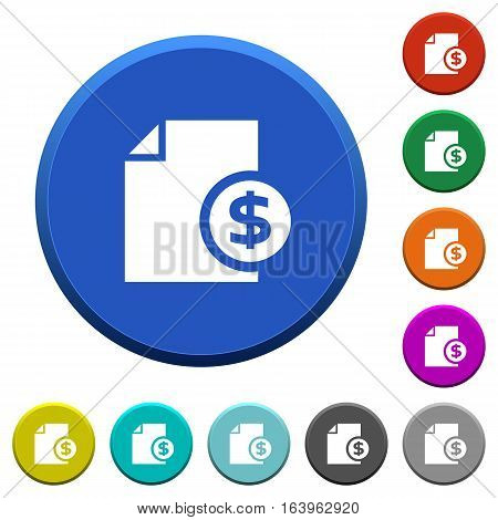 Dollar report round color beveled buttons with smooth surfaces and flat white icons