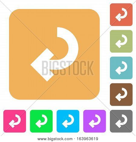 Return arrow icons on rounded square vivid color backgrounds.