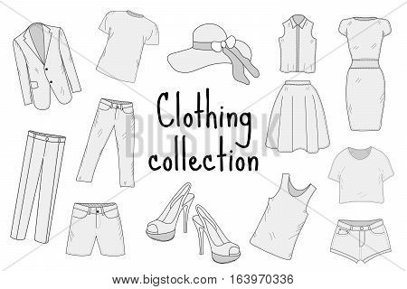 Clothing set hand drawing, sketch, doodle style. Apparel collection. Vector illustration