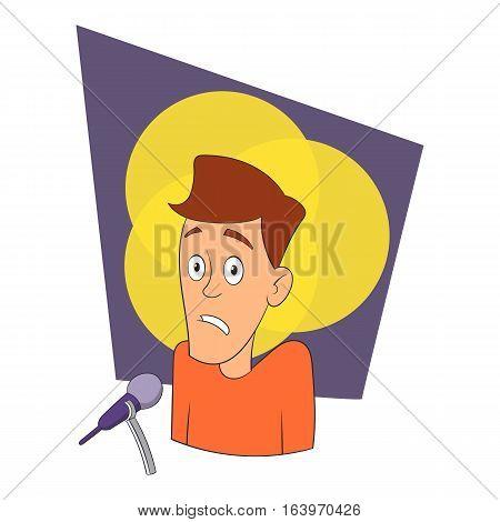 Fear of public speaking icon. Cartoon illustration of fear of public speaking vector icon for web design