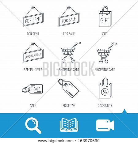 Shopping cart, gift bag and sale coupon icons. Special offer label linear signs. Discount icon. Video cam, book and magnifier search icons. Vector